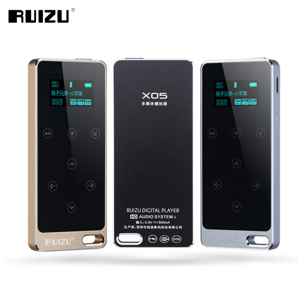 Original TFT Screen RUIZU X05 HIFI 8GB MP3 Player 8GB Touch Button Lossless Sound Support FM,E-Book Recording Sport Music Player