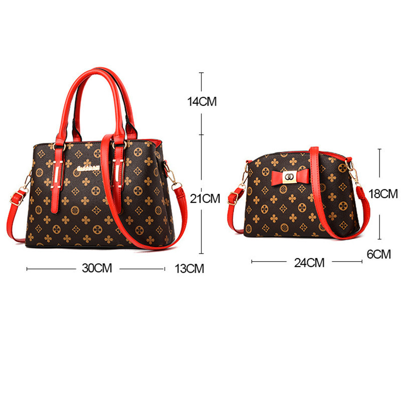 2 pieces / set 2018 new women's fashion shoulder bag handbags Christmas gift retro PU leather handbag 5