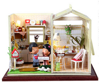 Christmas Gift Doll House Model Building Kits 3D Miniature Light Handmade Wooden Diy Dollhouse Toy Greatkive