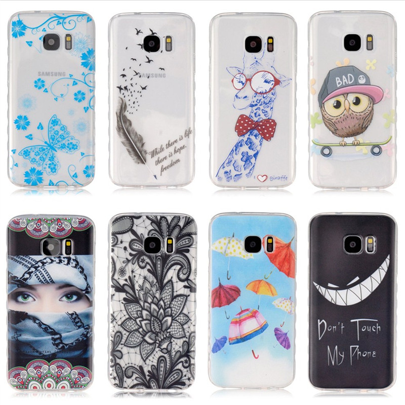 S7 Cute Giraffe Bear Owl Silicone Cover Case For Samsung Galaxy S7 S6 Edge S5 S4 S3 Mini Mandala Flower Butterfly Back Gel Coque
