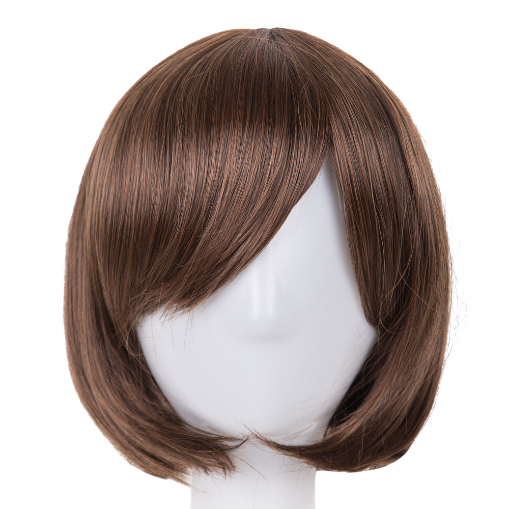 Synthetic None-lacewigs Black Bob Wig Fei-show Synthetic Heat Resistant Fiber Hairpieces Oblique Fringe Bangs Short Wavy Hair Halloween Carnival Hairset