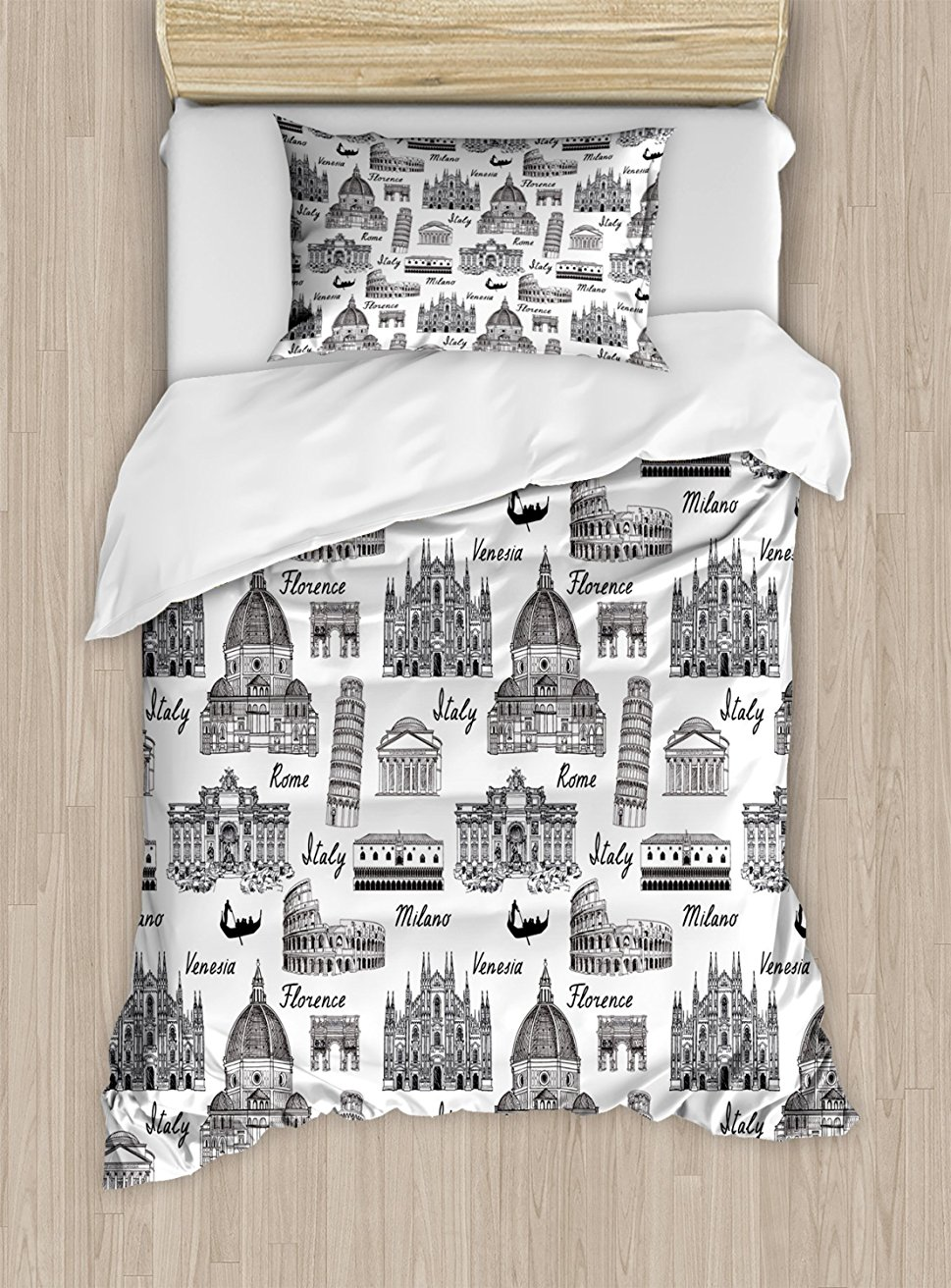City Duvet Cover Set Monochrome Sketch Style Famous Places from Italy Rome Milano European Architecture Decorative Black White