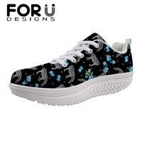 FORUDESIGNS Brand Designs Flat Platform Shoes 3D Horse Floral Print Ladies Swing Shoes Comfortable Fashion Slimming Shoes Female