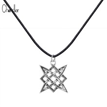 Slavic Norway Valknut Viking Svarog square pendant Colier Star Rus amulet Charm Ancient talisman jewelry pagan men Rope necklace