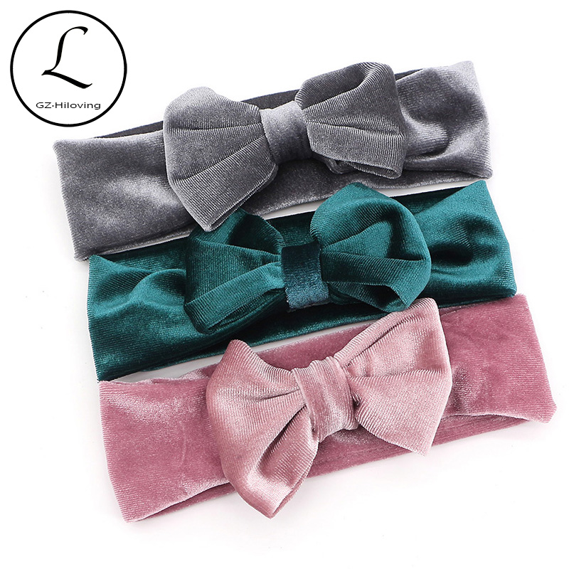 GZhilovingL New Autumn Winter Soft Baby Boys Girls Velvet Headbands Kids Toddler Solid Cute Bow Headbands Hair Band Accessories