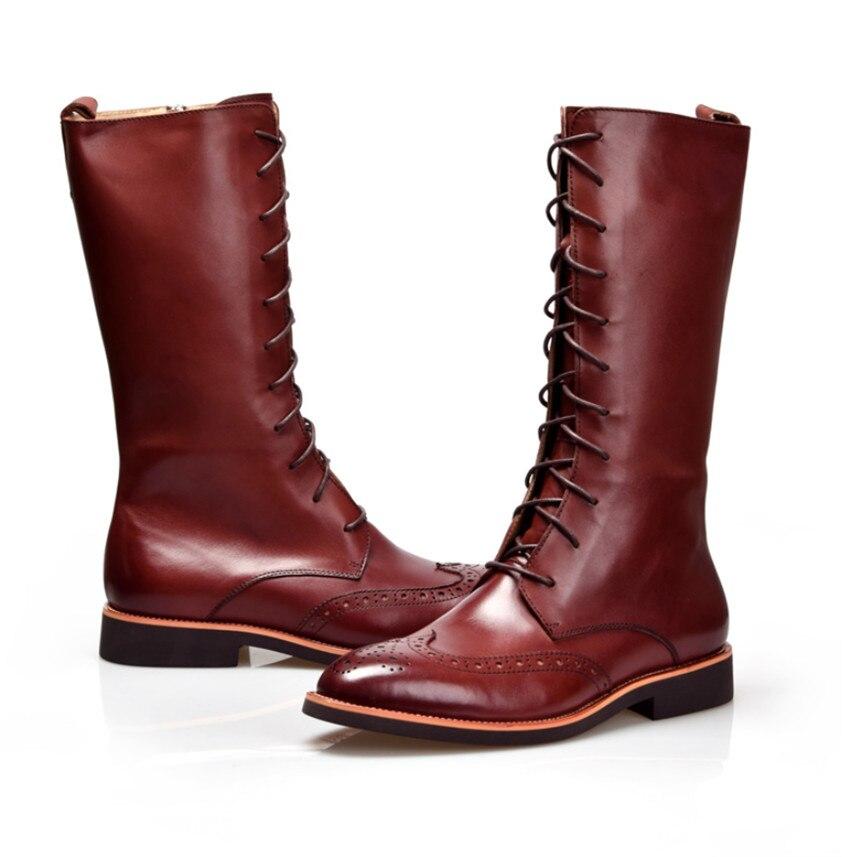 Beiläufige Winter Schuhe Black Britischen Herren Mode Tan Im Tan Leder Kniehohe Freien brown Braun schwarz Stiefel Stil Echtem Aus HZZ6qBwFC