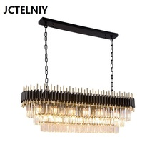 Light luxury crystal chandelier dining room chandelier rectangular table club bar Nordic modern luxury led lamps post modern crystal chandelier designer stainless steel hotel sample room metal light luxury bedroom dining room lamps