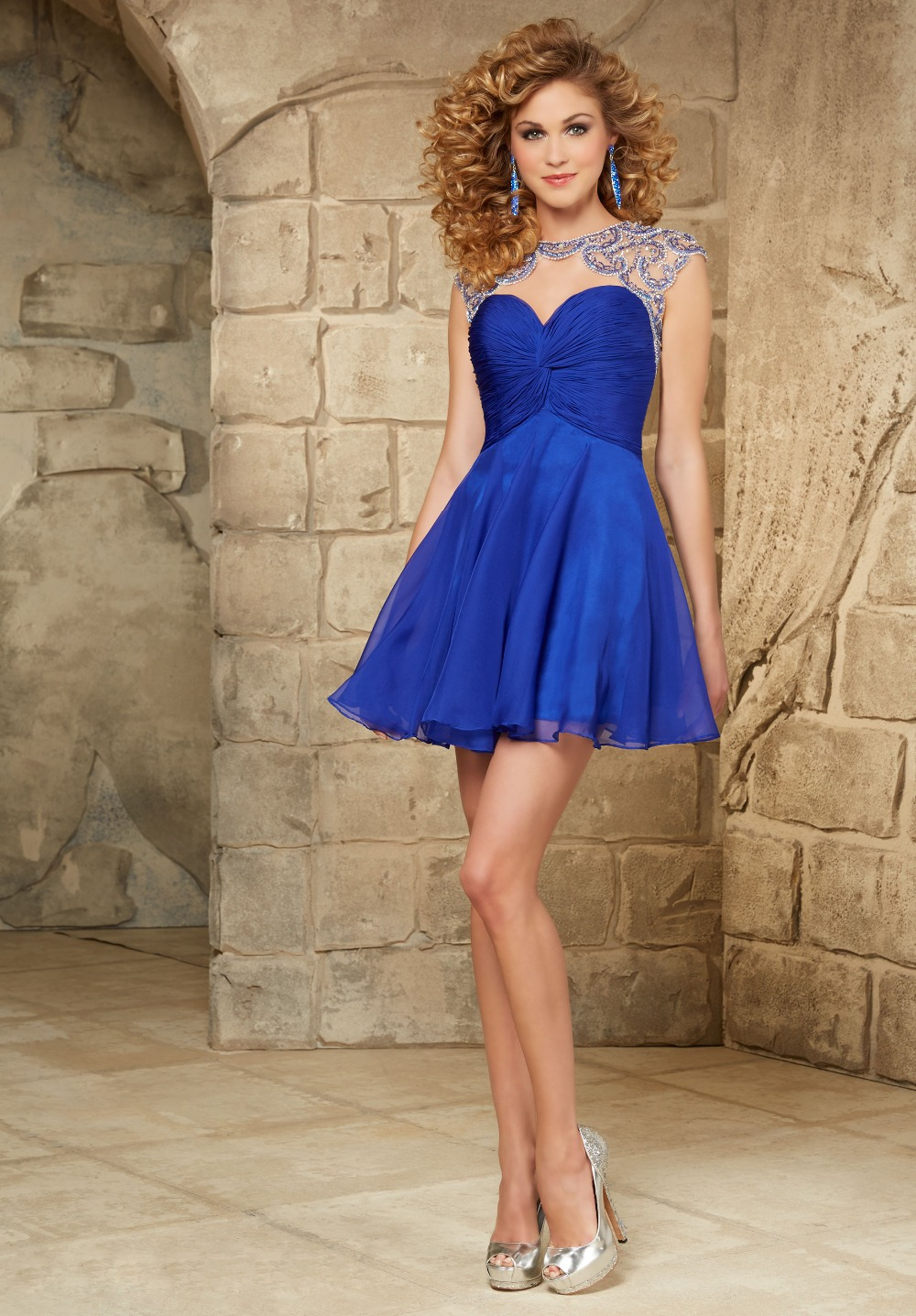 Blue Cocktail Dress with Sleeves