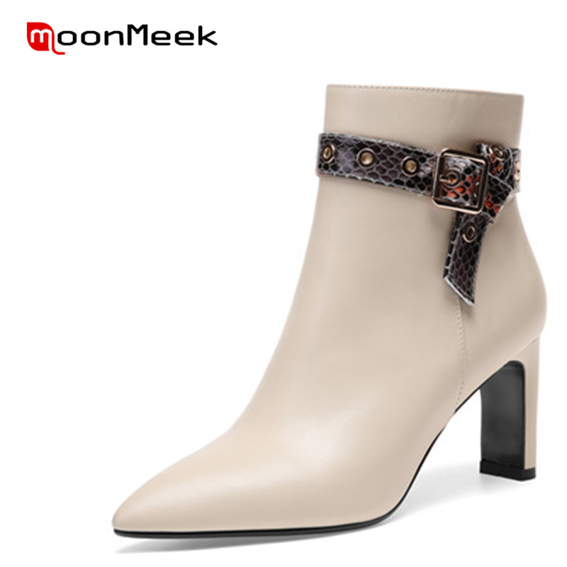 MoonMeek 2018 fashion autumn winter ladies boots new arrive genuine leather boots women hot sale high heels ankle boots цена 2017