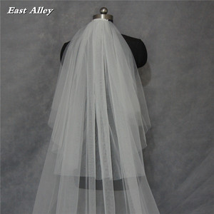 Image 2 - Popular New Style White or Ivory 2 Layer Blusher Veil 3 Meters  Lace Edge Cathedral Length Wedding Bridal Veil