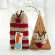 winter women socks thicken coral cashmere girl cute 3d cat bear fox casual warm ladies home