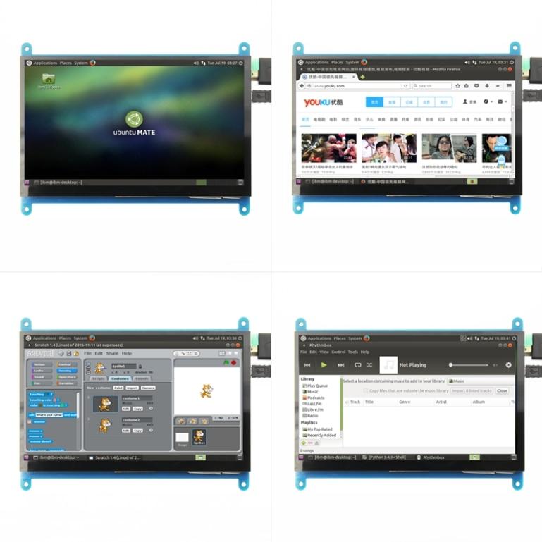 Pantalla táctil 7 pulgadas 3 Raspberry Pi HDMI HD TFT LCD 800*480 (píxeles) monitor para Raspberry Pi Pcduino 3 2B B Win7 8