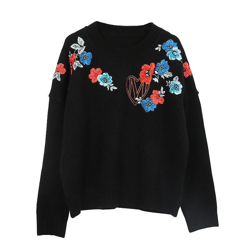 2018 New Fashion Runway Design Embroidery Sweater Women Long Sleeve O-Neck Knitted Casual Pullover Oversized Sweaters Pull Femme