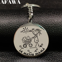 2019 New Fashion Mama Stainless Steel Key Chains for Women Silver Color Pendant Kid Jewelry llaveros de acero K77405B