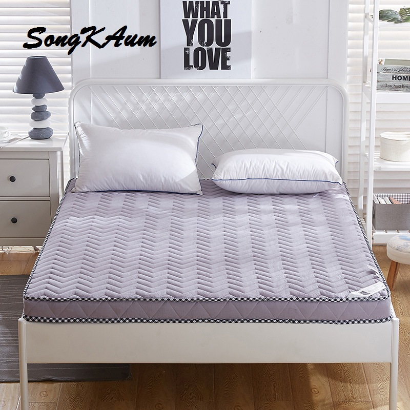 SongKAum Thickening Cotton Cover Polyester Fiber Filling Foldable 0.9/1.0 Meters Mattress Double 1.5/1.8/2.0 Meters Bed Pad enhanced version of european style metal bed iron bed double bed pastoral style student bed 1 5 meters 1 8 meters