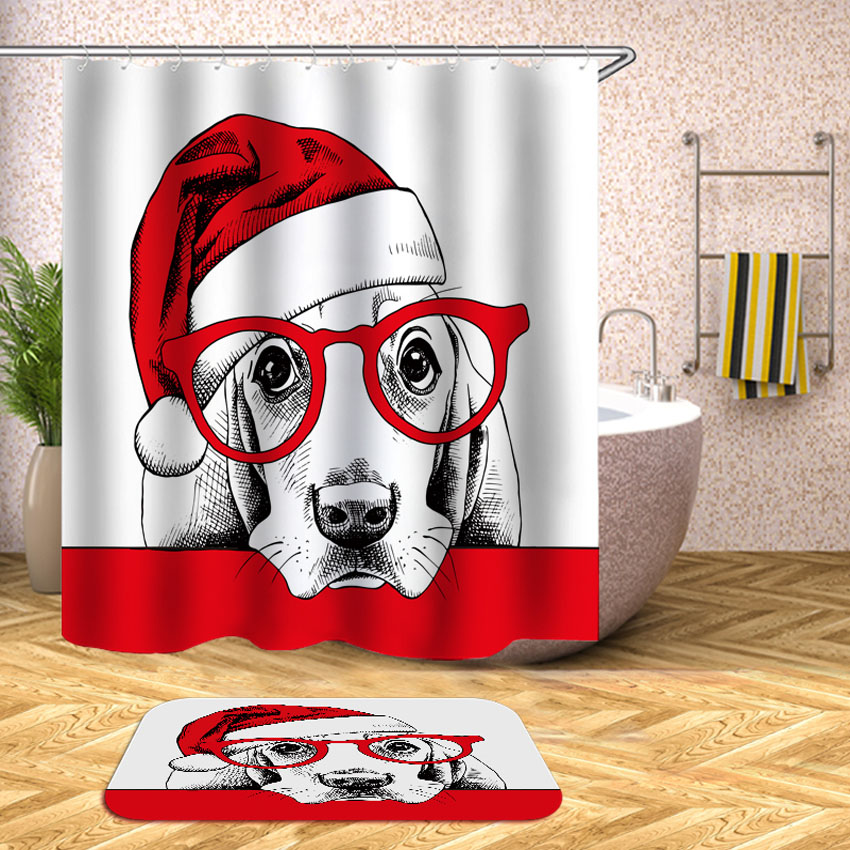 New Year Shower Curtain Cat Dog Christmas Hat Waterproof Bath Curtains Bathroom For Bathtub Bathing Cover Large Wide 12pcs Hooks In From