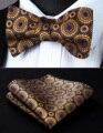 Partido Bolso Quadrado Clássico Casamento BF804DS Marinha Ouro Azul Floral Homens Gravata Borboleta de Seda Auto Gravata Gravata conjunto lenço