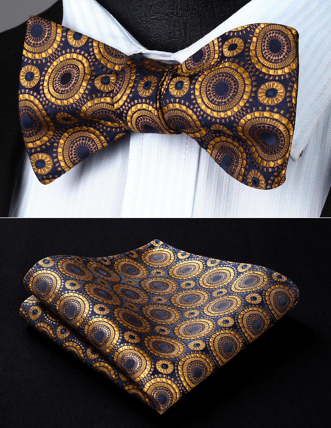 31b5de2a0216 Detail Feedback Questions about Party Pocket Square Classic Wedding BF804DS  Gold Navy Blue Floral Bowtie Men Silk Self Bow Tie handkerchief set on ...