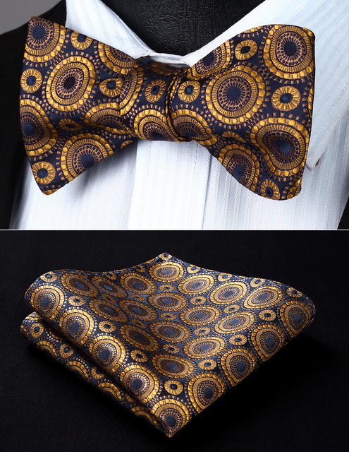 699158a52614 Party Pocket Square Classic Wedding BF804DS Gold Navy Blue Floral Bowtie  Men Silk Self Bow Tie