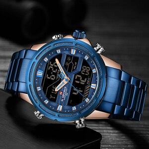 Image 3 - NAVIFORCE relojes deportivos para hombre, reloj Digital LED de cuarzo, de pulsera militar de acero completo, Masculino