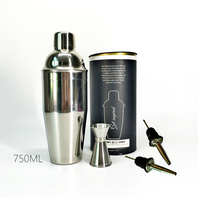 Premium 4 Pieces Bar set 750ml stainless steel cocktail shaker 15 30ml Double End Jigger 2