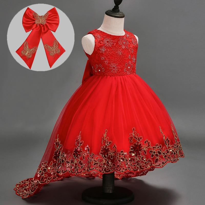 Fashion Baby Girls dress Lace Floral Wedding Princess Party Dress Costume for Kids Children Birthday Clothes vestido infantil