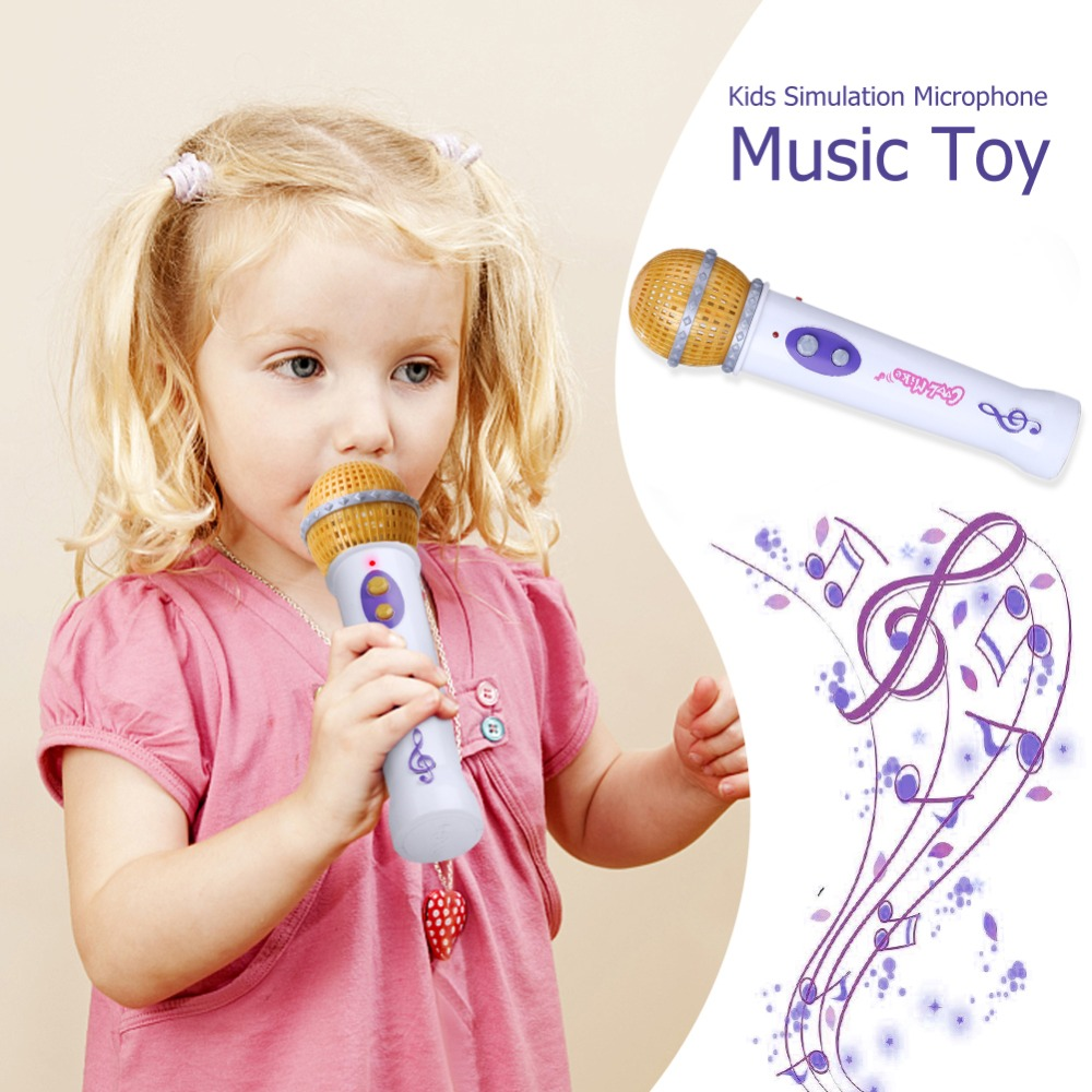 Children Emulated Music Toys Lighting Wireless Micro Kids Simulation Microphone Guitar Music Toy For Karaoke Singing Pretend Toy