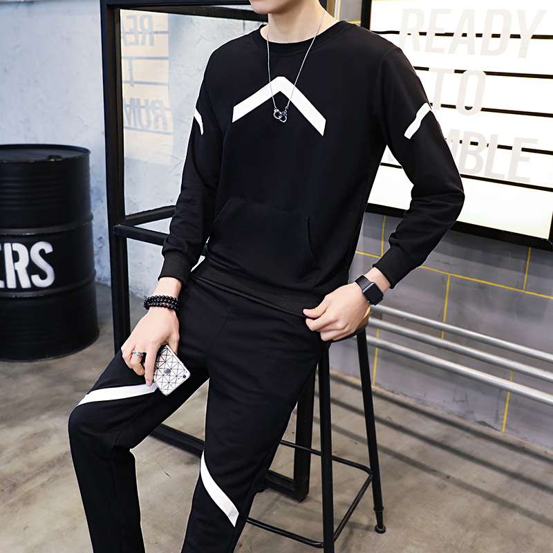 Loldeal Mens Tracksuit Outwear Hoodie Set 2 Pieces Autumn Sporting Track Suit Male Fitness Sweatshirts Jacket+Pants Sets