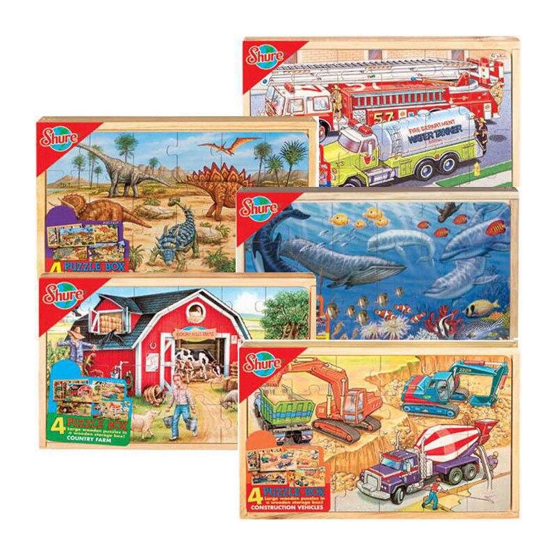 Boîte en bois pour enfants variété de créatives quatre dans une intelligence de puzzle éducatif jouet enfants jouet cadeau