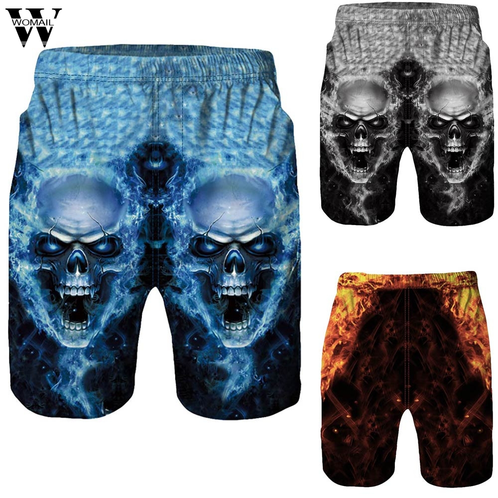 Womail Men Short Summer Casual 3D Skull Printed Beach Work Casual Men Short Trouser Shorts Shorts Fanshion Deporte Dropship J25