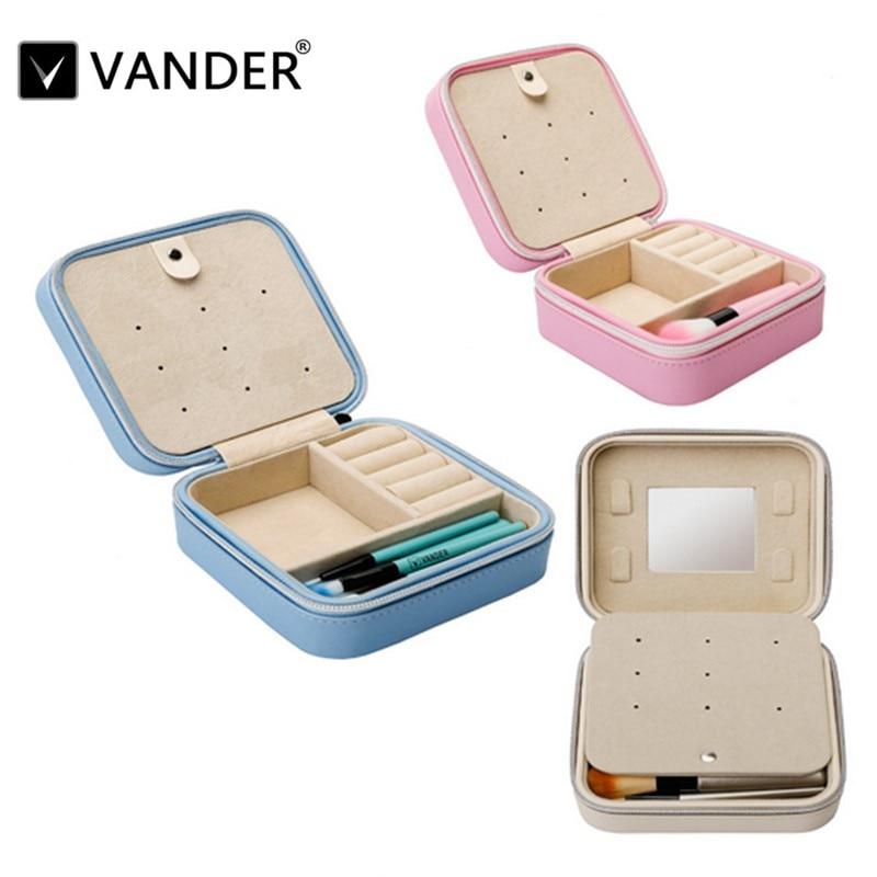 Vanderlife Travel portable jewelry box with mirror cosmetic makeup organizer earrings Casket storage box + 5pcs small brush makeup organizer box