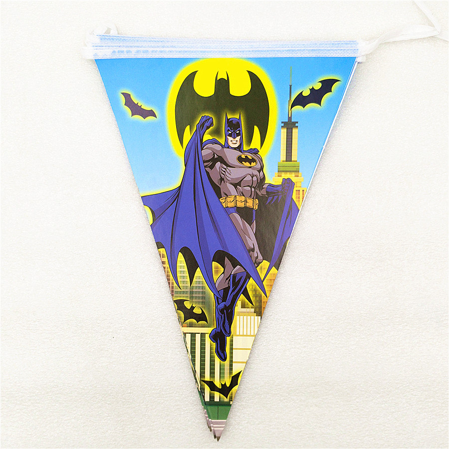 1 Set Cartoon Batman Party Decorations Flags Banner Party Home Kids Happy Birthday Baby Shower Superhero Party Supplies in Party DIY Decorations from Home Garden