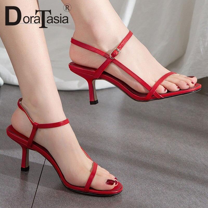 DORATASIA 2019 marque de mode vache naturelle en cuir véritable d'été sandales élégantes femmes chaussures femme talons hauts chaussures de fête