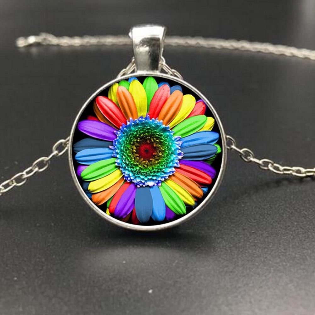 Colorful Rainbow Flower Buttons Flag Crystal Pendant Necklace Glass Cabochon Chain Necklace Gift For Gay