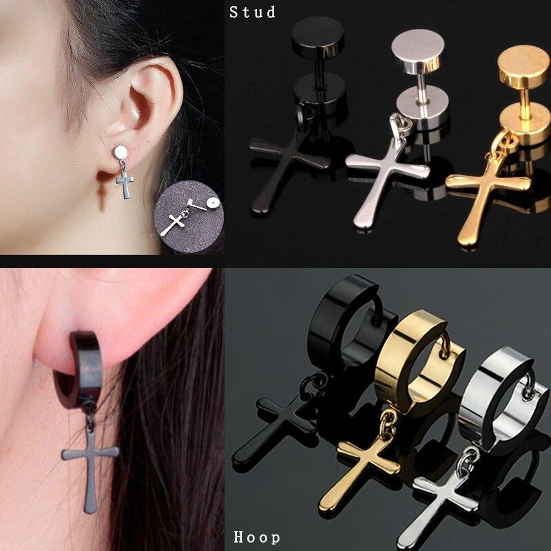Sellsets 1Piece Men Women Fashion Stainless Steel Cross Ear Stud Punk Hip Hop Round Dumbbell Earrings Ear Piercing Plug