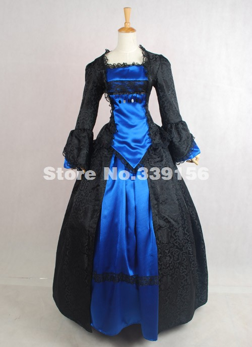 High-end Black And Green Brocade Medieval Renaissance Victorian Period Ball Gown Ball Gown 18th Century Gothic Victorian Dress