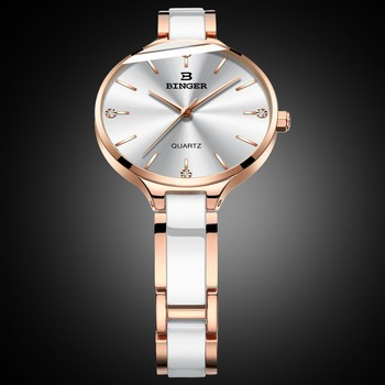 BINGER Ceramic Band Sapphire Luxury Rose gold Watch 1