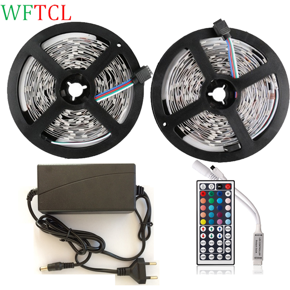 WFTCL Complete LED Strip Kits 10M 32.8 Ft 30LED/M 5050 RGB LED Tape Light with 44-Key Mini RGB controller + DC12V power adapter