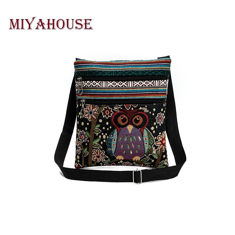Miyahouse Casual Small Double Zipper Messenger Bag Women Cartoon Owl Printed Flap Bag Shoulder Bag Ladies
