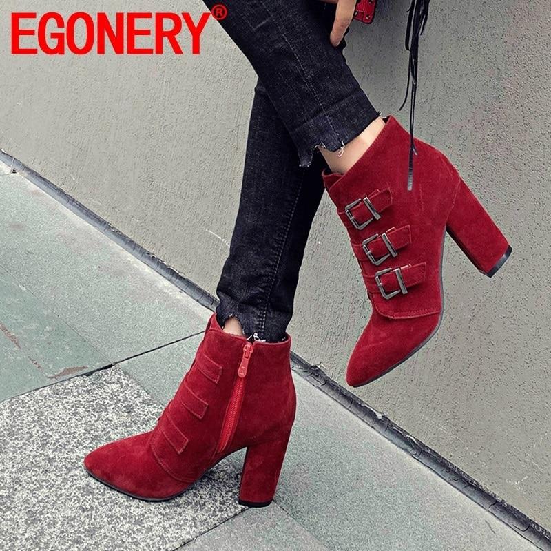 Egonnerie femme chaussures 2019 hiver chaud nouvelle mode bout pointu troupeau boucle cheville bottes à l'extérieur super hauts talons zip dames chaussures