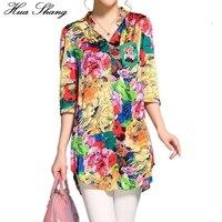 2017 Women Summer Half Sleeve V Neck Women Blouse Floral Print Colorful Irregular Long Shirts