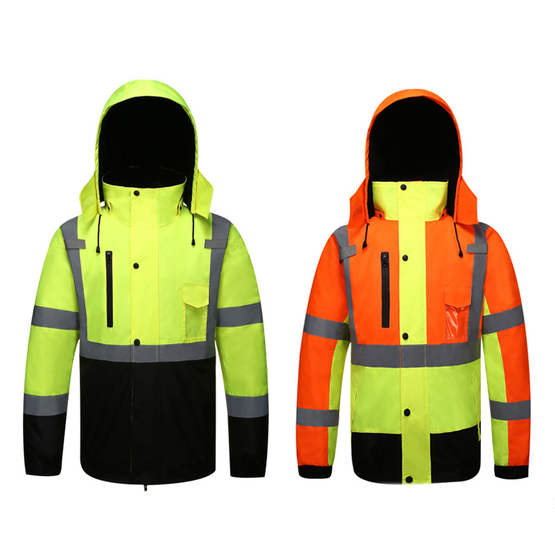 Autumn/Winter Reflective Clothing High Visibility Waterproof Windproof Bomber Jacket Safety Workwear Clothing for Road Traffic-in Safety Clothing from Security & Protection