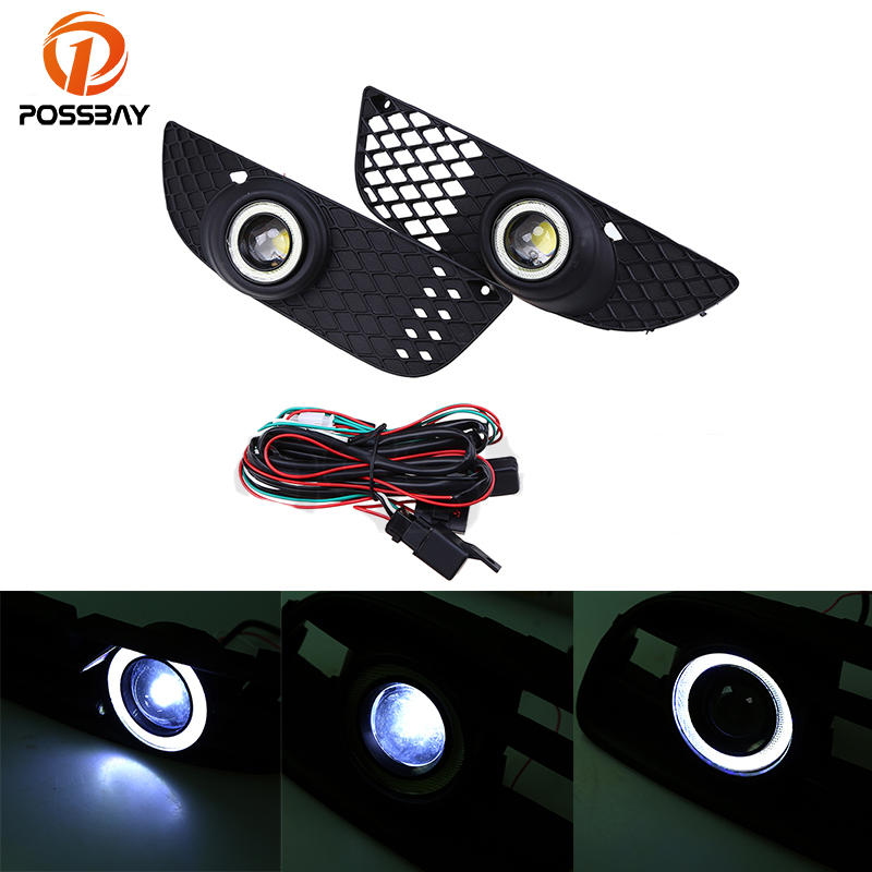 цена на POSSBAY Front Fog Light With Lens LED Lamp Angle/Devil Eyes for Mitsubishi Lancer 2008-2012 White Lower Bumper Fog Lamps 12V