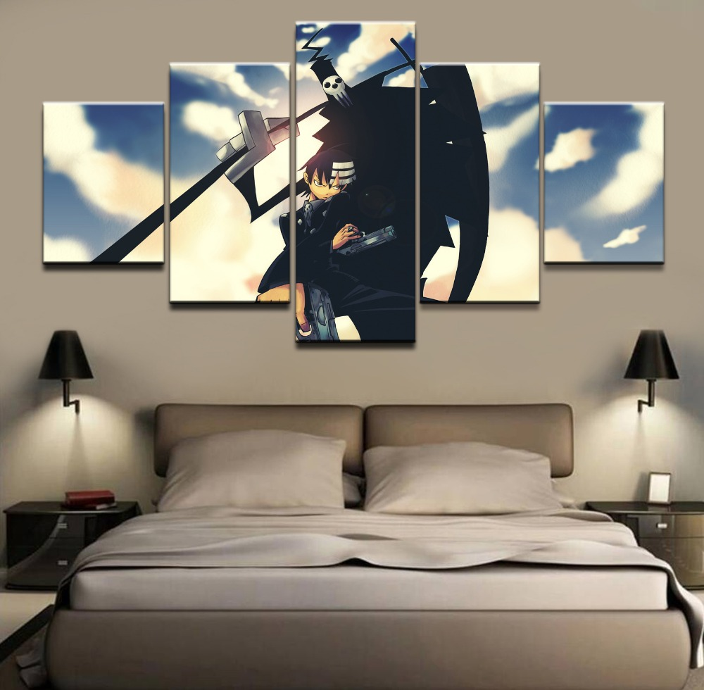 Canvas Picture Wall Art Frame Bedroom Home Decor 5 Piece Anime Soul Eater Death The Kid Gun Man Shinigami Paintings Print Poster Print Poster Wall Art Framedart Frame Aliexpress