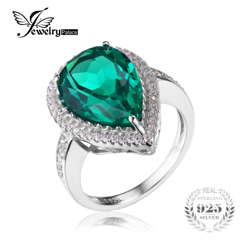 Jewelrypalace Luxury Pear Cut 49ct Created Emerald Solid 925 Sterling Silver  Engagement Ring For Women