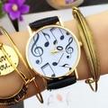 Women's Fashion Music Note Faux Leather Band Round Case Gift Quartz Wrist Watch