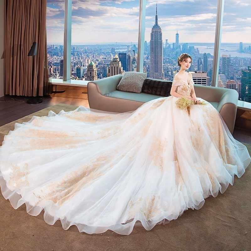 Роскошные золотые кружева Дубай свадебное платье es с плеча вышивка бисером Винтаж Свадебные платья Рубашка с короткими рукавами свадебное платье плюс Размеры