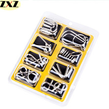 8PCS/Set magic tricks Metal Wire Puzzle IQ Mind Brain Teaser Kids Puzzles Game Toys for Children Adults Fidget spinner gift
