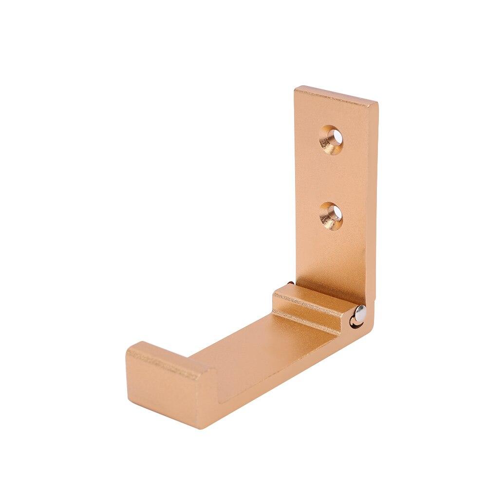 Складной держатель для наушников, вешалка для гарнитуры, настенный крючок из алюминиевого сплава, подставка для наушников с наклейкой, винты, крючки для ванной комнаты, настенный - Цвет: gold