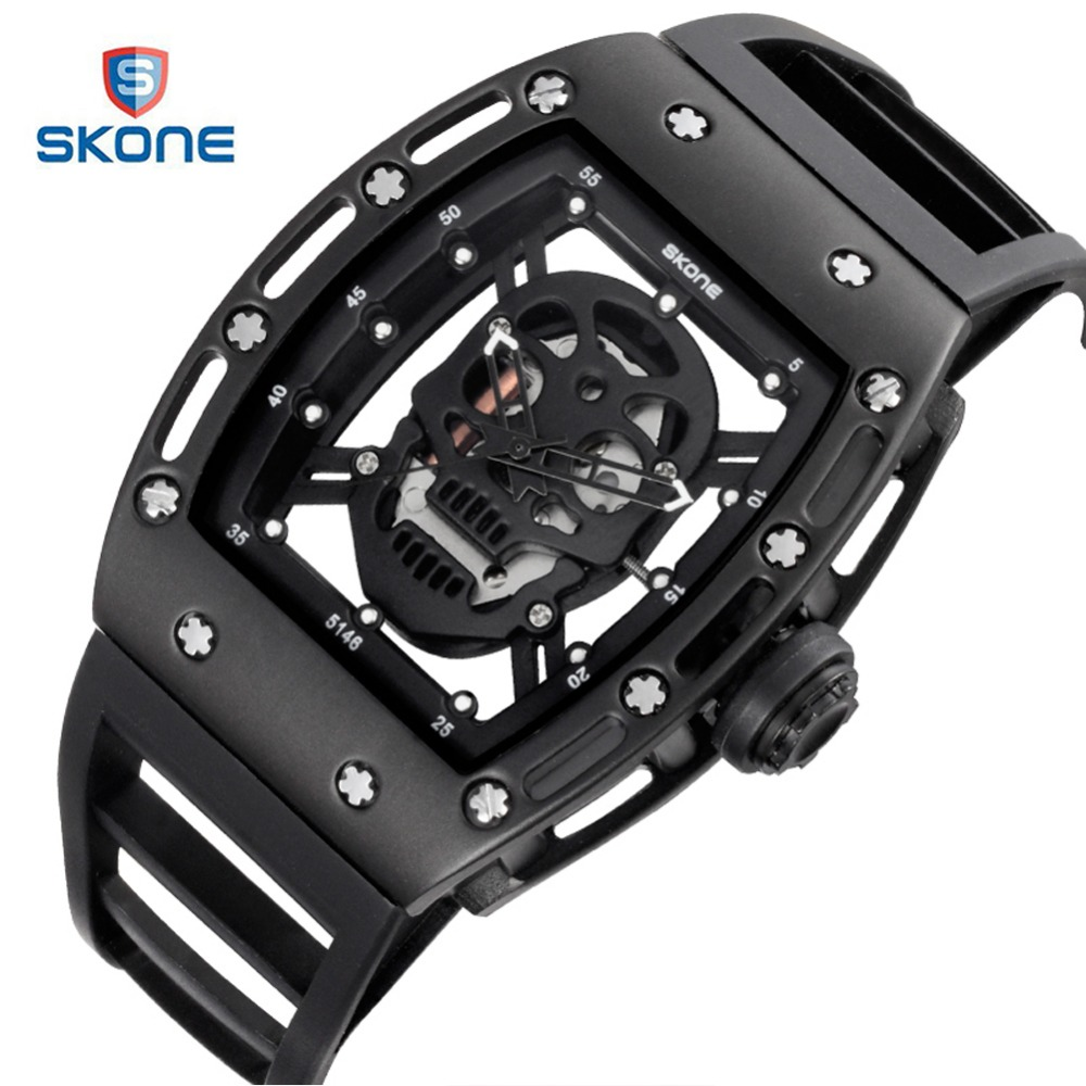 SKONE Skeleton Pirate Skull Sport Watch Men Brand Luxury Caveira Mens Quartz Wrist Watch Fashion Waterproof Watches S Shock XFCS mens watch top luxury brand fashion hollow clock male casual sport wristwatch men pirate skull style quartz watch reloj homber